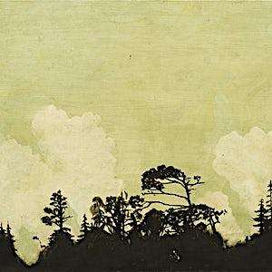 Astrid Nondal: Skogrand, lette skyer og grønn himmel, 2014, 76 x 110 cm