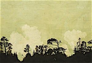 Astrid Nondal, Skogrand, lette skyer og grønn himmel, 2014, 76 x 110 cm