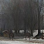 Halvard Haugerud: Ryttere i snø, 2008, 43 x 38 cm