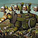 Terje Ythjall: Ute for å luftes, 2005, 60 x 81 cm